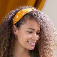 POM Peace Of Mind Daisy Print Headband in Mustard Yellow